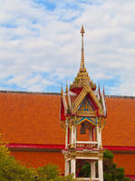Beautiful bell tower on the territory of a Buddhist temple. Thailand