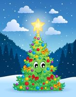 Christmas tree theme 4 - picture illustration.