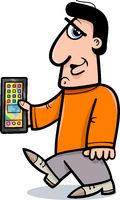 man with smart phone cartoon