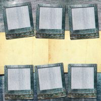 Vintage postcard with paper slides on old jeans background