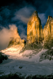 Picturesque view of Torres del Paine in south American Andes