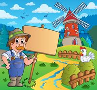 Farmer with sign near windmill - picture illustration.