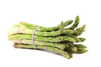 Fresh green asparagus tied up.