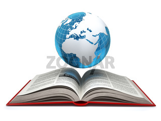 Education internet e-learning concept. Earth and open book isolated on white.