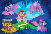 Bats in fairy tale cave - picture illustration.