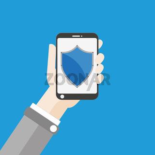 Hand Smartphone Shield Flat
