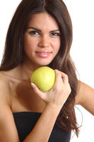 woman hold apple in hands isolated on white