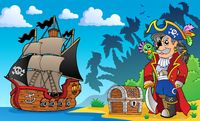 Pirate on coast theme 3 - picture illustration.