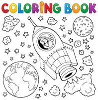 Coloring book space theme 1 - picture illustration.