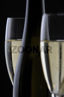 Champagner mit Glas und Flasche