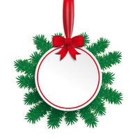 White Paper Bauble Red Ribbon Green Twigs PiAd