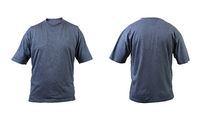 Blue gray t-shirt front and back view.
