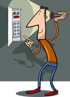 man fix electricity cartoon illustration