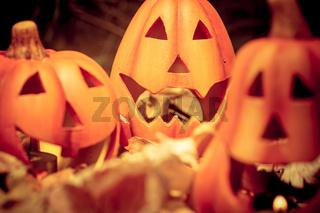 Scary halloween pumpkins jack-o-lantern candle lit