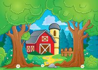 Tree theme with farm 3 - picture illustration.