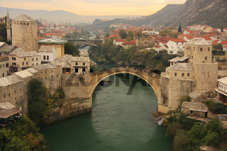 Town of Mostar and Stari Most at sunset, Bosnia and Hercegovina