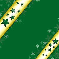A golden ribbon on a green background