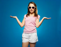 Beautiful Young Girl in Shades Cool Pose