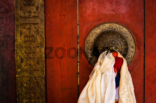 Old door at Buddhist monastery temple. India