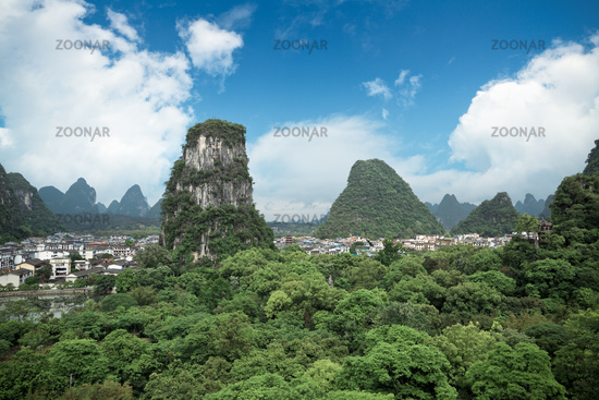 yangshuo county town against a blue sky