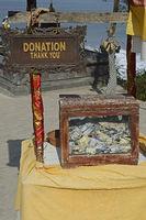 Spendenbox zum Erhalt des Meerestempel Pura Tanah Lot, Bali, Ind