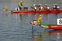 Drachenbootrennen mit Booten vom Drachenboot Club Eglisau auf dem See Lac de Joux