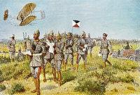 Prussian general and his  General Staff during a maneuver, German-Prussian War in 1871, Preußischer General mit seinem Generalstab bei einem Manöver, Deutsch-Französischer Krieg, 1871