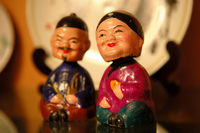 The close up of Chinese old couple figurines