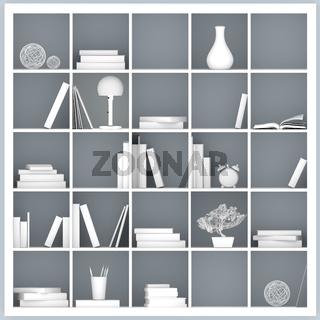 white bookshelves illustration
