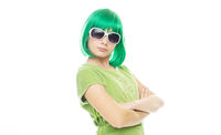 Girl with an attitude in a green wig