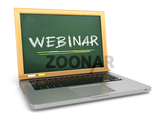 Webinar concept. Laptop with chalkboard and chalk.