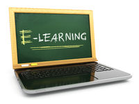 E-laerning education concept. Laptop with blackboard and chalk.