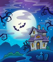 Haunted house theme background - picture illustration.