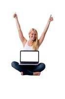 Blonde with laptop on legs