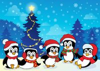 Winter theme with penguins 4 - picture illustration.