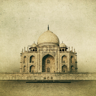 Vintage image of Taj Mahal at sunrise, Agra, India