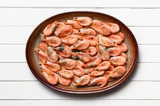 shrimps on white wooden table