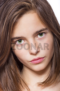 closeup portrait of a teenage girl isolated on white