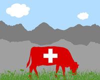 Kuh Alm und Schweizerfahne - Cow alp and swiss flag