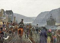 Silesian Army crosses  Rhine, Kaub, German Wars of Liberation
