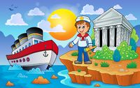 Greek coast with ship and sailor - picture illustration.