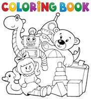 Coloring book heap of toys - picture illustration.