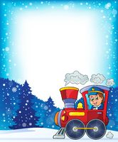 Winter theme with locomotive - picture illustration.