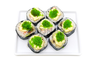 sushi on a plate isolated on white background