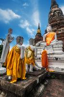 Praying Buddhas at Wat Yai Chai Mongkhon. Thailand
