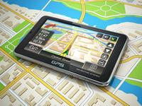 GPS navigation system on the city map.