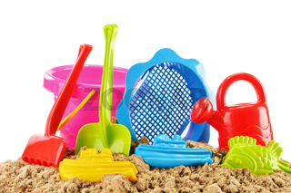 Plastic children toys for playing in sandpit or on a beach