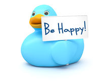 Blue Ducky with be happy sign