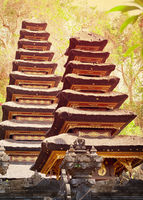 Two pagodas in the temple complex. Indonesia, Bali island