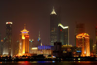 SHANGHAI - AUG 14: The panorama of Shanghai Pudong district at night